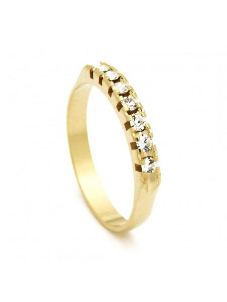 Meia Aliança Banhada Ouro 18 k Pedras Cristal - 1010002