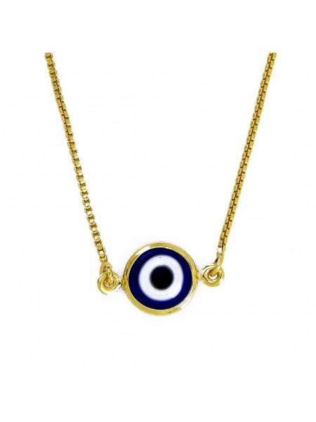 Gargantilha Olho Grego Azul Topázio Banhada Ouro 18 k - 1060002