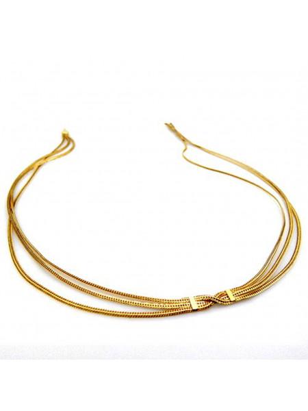 Gargantilha 3 Fios Banhada em Ouro 18 k - 1060013