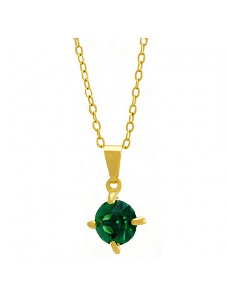 Gargantilha Ponto Luz Verde Esmeralda Banhada Ouro 18 K - 1061101