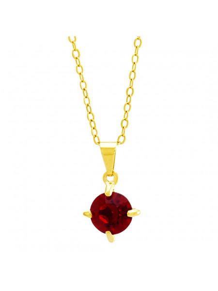 Gargantilha Ponto Luz Vermelho Rubi Banhada Ouro 18 K - 1061102