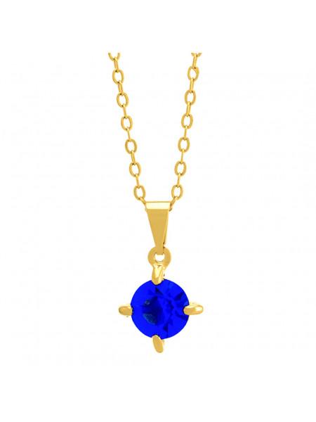 Gargantilha Ponto Luz Azul Zafira Banhada Ouro 18 K - 1061103