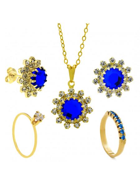 Conjunto Girassol Gargantilha Solitário Brincos Meia Aliança Azul Safira Banhado Ouro Amarelo 18 k - KIT16442