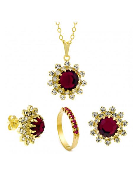 Conjunto Girassol Gargantilha Brincos Meia Aliança Rosa Pink Banhado Ouro Amarelo 18 k - KIT16428