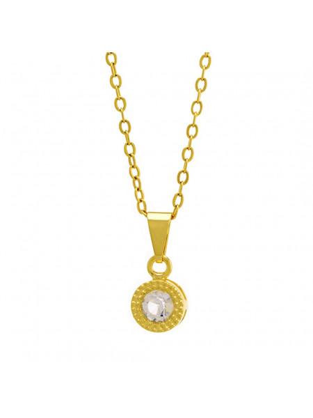 Gargantilha Ponto Luz Redondo Cristal Banhada Ouro 18 K - 1061112