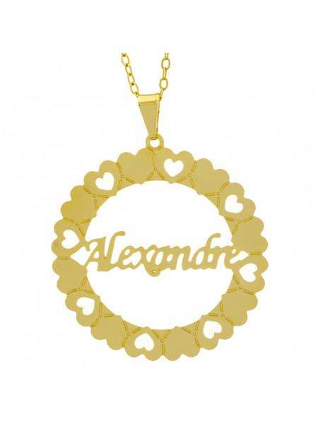 Gargantilha Pingente Mandala Manuscrito Alexandre Banho Ouro Amarelo 18 K - 1061285