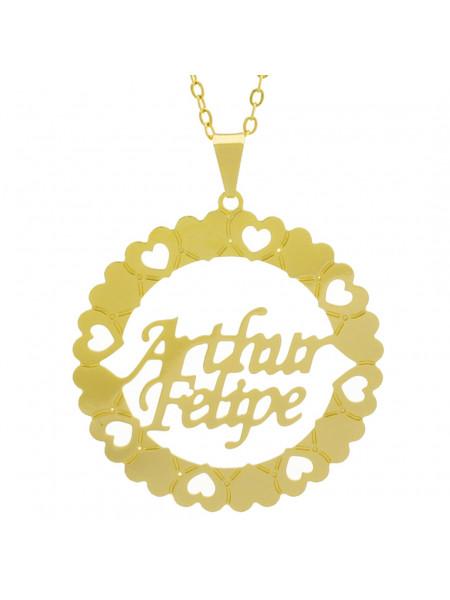 Gargantilha Pingente Mandala Manuscrito Arthur Felipe Banho Ouro Amarelo 18 K - 1061292