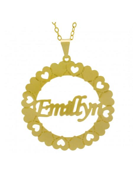 Gargantilha Pingente Mandala Manuscrito Emillyn Banho Ouro Amarelo 18 K - 1061315