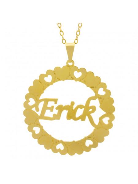 Gargantilha Pingente Mandala Manuscrito Erick Banho Ouro Amarelo 18 K - 1061316