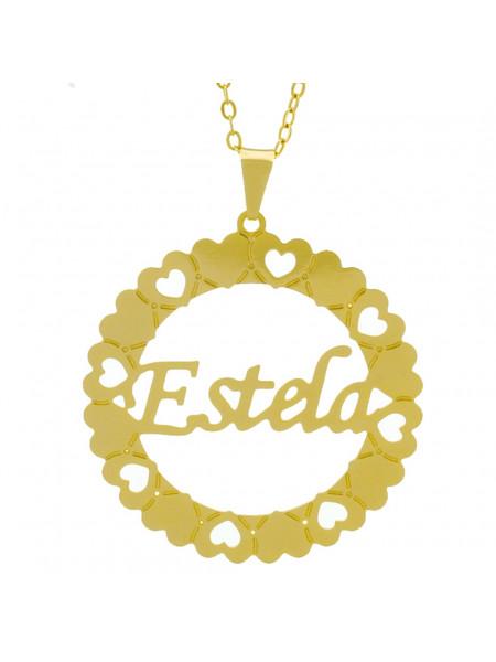 Gargantilha Pingente Mandala Manuscrito Estela Banho Ouro Amarelo 18 K - 1061318
