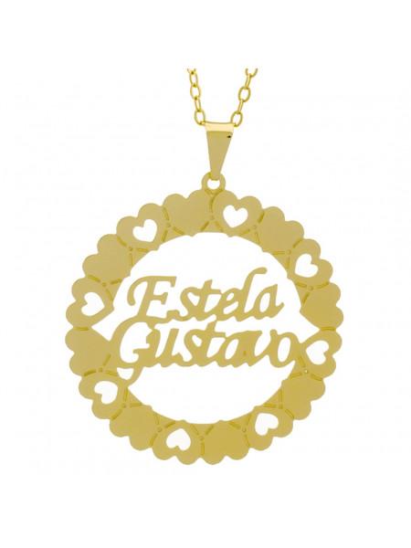 Gargantilha Pingente Mandala Manuscrito Estela Gustavo Banho Ouro Amarelo 18 K - 1061317