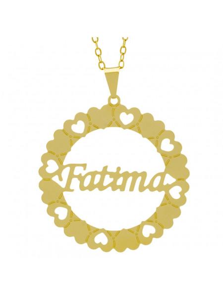 Gargantilha Pingente Mandala Manuscrito FATIMA Banho Ouro Amarelo 18 K - 1061320
