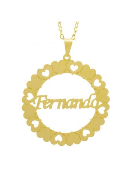 Gargantilha Pingente Mandala Manuscrito FERNANDO Banho Ouro Amarelo 18 K - 1061322