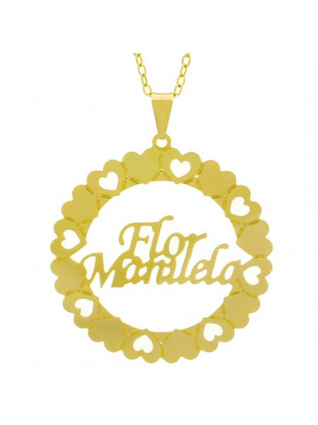 Gargantilha Pingente Mandala Manuscrito FLOR MANUELA Banho Ouro Amarelo 18 K - 1061323