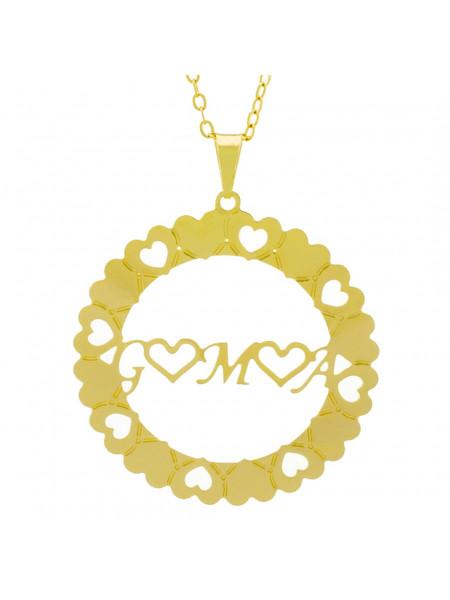 Gargantilha Pingente Mandala Manuscrito G ♥ M ♥ A Banho Ouro Amarelo 18 K - 1061324