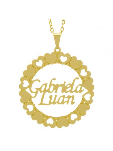 Gargantilha Pingente Mandala Manuscrito Gabriela Luan Banho Ouro Amarelo 18 K - 1061325