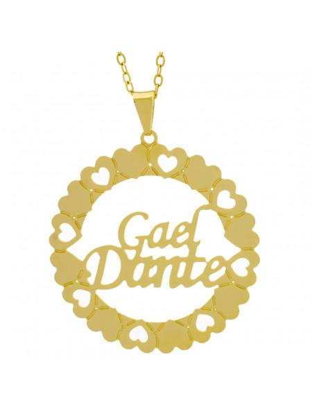 Gargantilha Pingente Mandala Manuscrito Gael Dante Banho Ouro Amarelo 18 K - 1061327