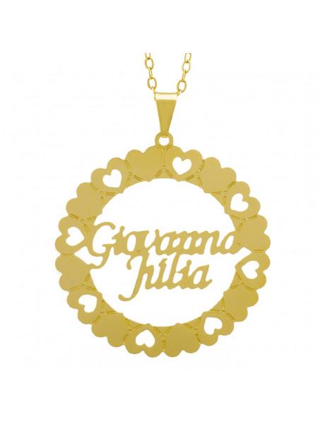 Gargantilha Pingente Mandala Manuscrito Giovanna Júlia Banho Ouro Amarelo 18 K - 1061328
