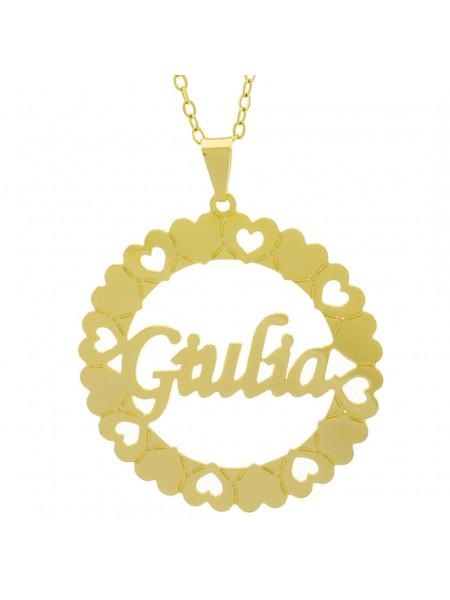 Gargantilha Pingente Mandala Manuscrito Giulia Banho Ouro Amarelo 18 K - 1061329