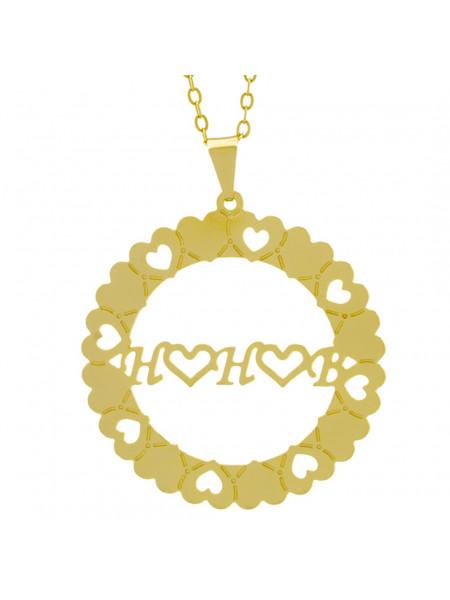 Gargantilha Pingente Mandala Manuscrito H ♥ H ♥ B Banho Ouro Amarelo 18 K - 1061331