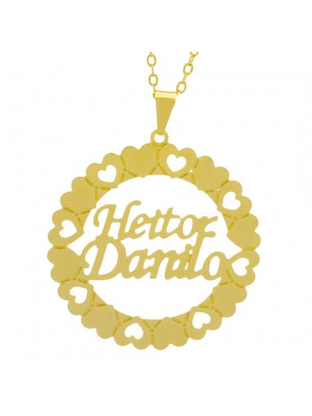 Gargantilha Pingente Mandala Manuscrito HEITOR DANILO Banho Ouro Amarelo 18 K - 1061332