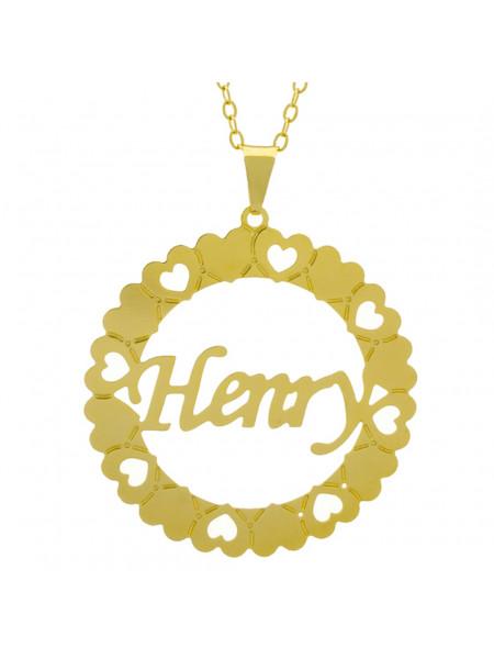 Gargantilha Pingente Mandala Manuscrito HENRY Banho Ouro Amarelo 18 K - 1061334