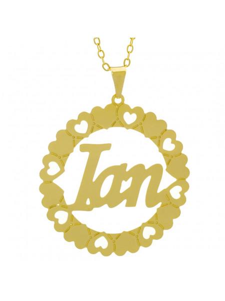 Gargantilha Pingente Mandala Manuscrito IAN Banho Ouro Amarelo 18 K - 1061335