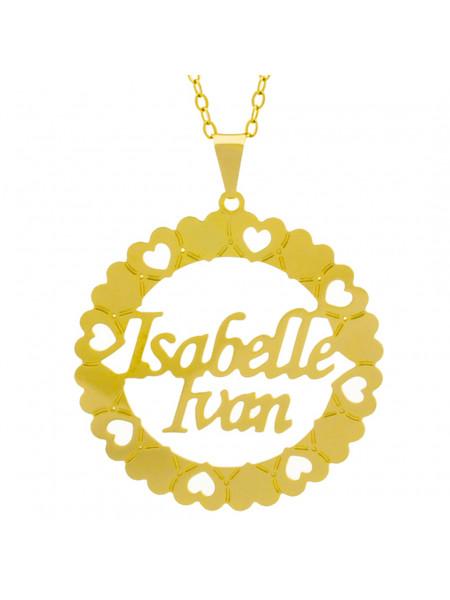 Gargantilha Pingente Mandala Manuscrito ISABELLE IVAN Banho Ouro Amarelo 18 K - 1061337