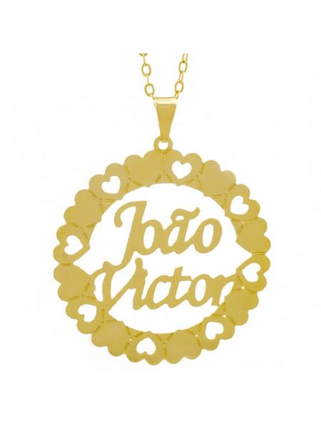Gargantilha Pingente Mandala Manuscrito JOÃO VICTOR Banho Ouro Amarelo 18 K - 1061344