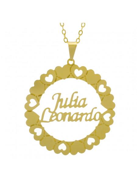 Gargantilha Pingente Mandala Manuscrito JULIA LEONARDO Banho Ouro Amarelo 18 K - 1061346