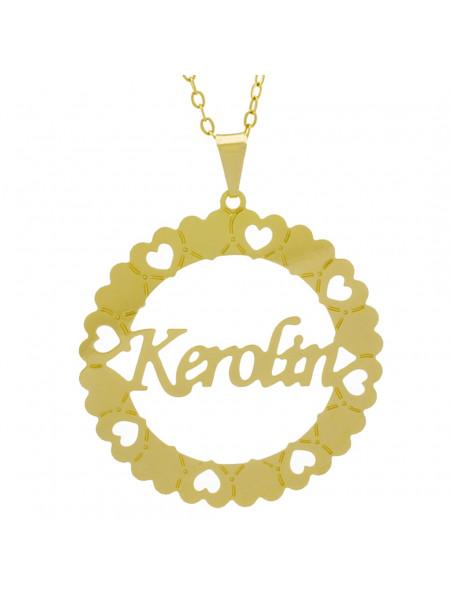 Gargantilha Pingente Mandala Manuscrito KEROLIN Banho Ouro Amarelo 18 K - 1061350