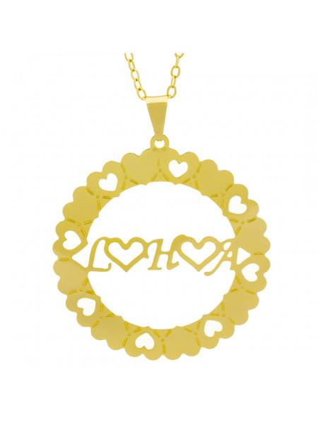Gargantilha Pingente Mandala Manuscrito L ♥ H ♥ A ♥ Banho Ouro Amarelo 18 K - 1061352