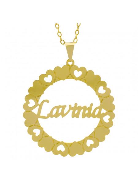 Gargantilha Pingente Mandala Manuscrito LAVINIA Banho Ouro Amarelo 18 K - 1061354