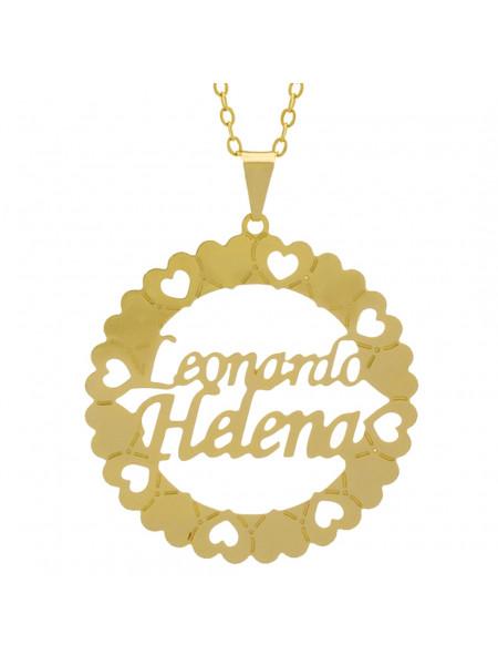 Gargantilha Pingente Mandala Manuscrito LEONARDO HELENA Banho Ouro Amarelo 18 K - 1061356