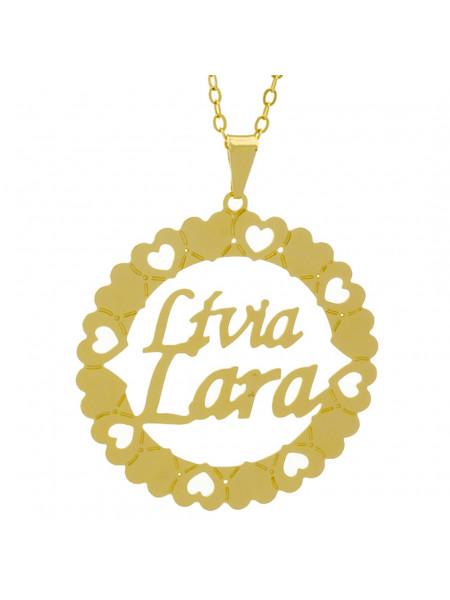 Gargantilha Pingente Mandala Manuscrito LÍVIA LARA Banho Ouro Amarelo 18 K - 1061357