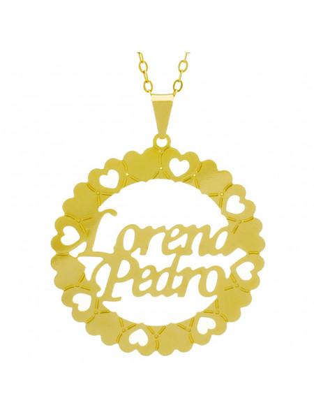 Gargantilha Pingente Mandala Manuscrito LORENA PEDRO Banho Ouro Amarelo 18 K - 1061359