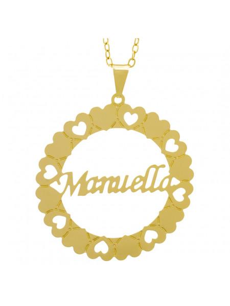 Gargantilha Pingente Mandala Manuscrito MANUELLA Banho Ouro Amarelo 18 K - 1061375
