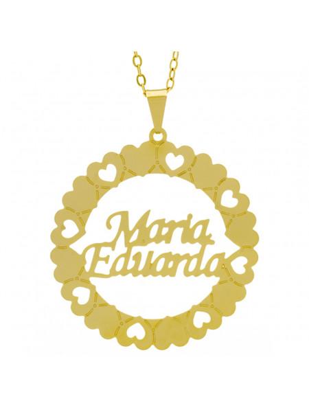 Gargantilha Pingente Mandala Manuscrito MARIA EDUARDA Banho Ouro Amarelo 18 K - 1061377