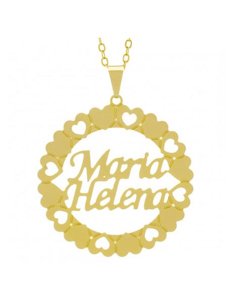 Gargantilha Pingente Mandala Manuscrito MARIA HELENA Banho Ouro Amarelo 18 K - 1061378