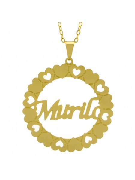 Gargantilha Pingente Mandala Manuscrito MURILO Banho Ouro Amarelo 18 K - 1061381