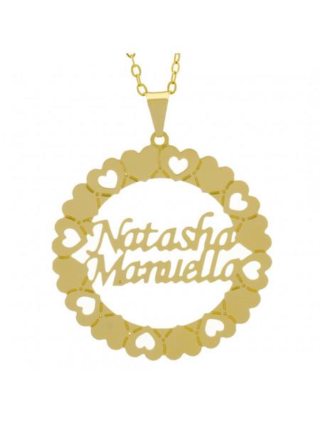 Gargantilha Pingente Mandala Manuscrito NATHASHA MANUELLA Banho Ouro Amarelo 18 K - 1061382