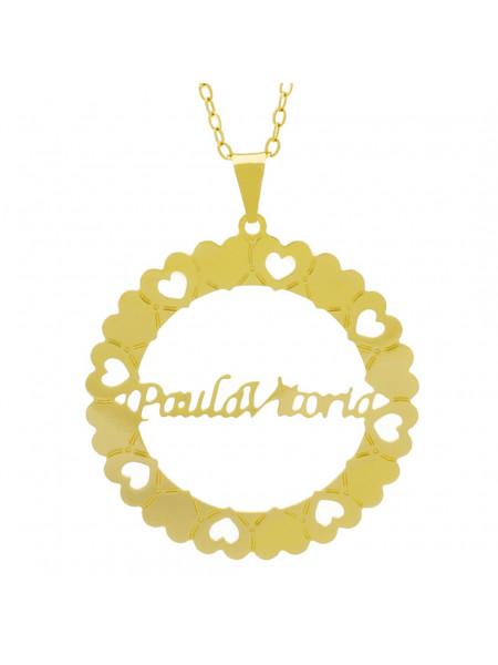 Gargantilha Pingente Mandala Manuscrito PAULA VITORIA Banho Ouro Amarelo 18 K - 1061386