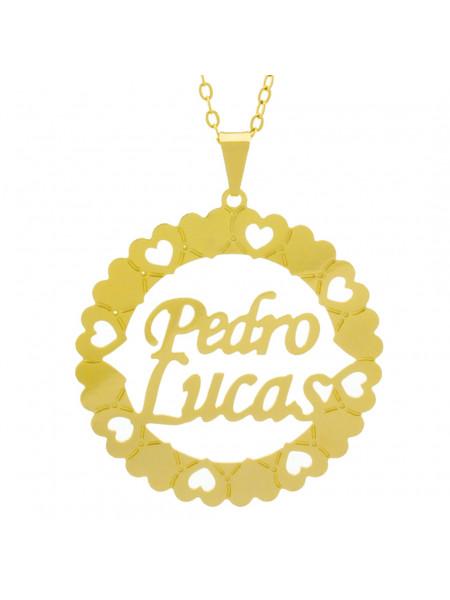 Gargantilha Pingente Mandala Manuscrito PEDRO LUCAS Banho Ouro Amarelo 18 K - 1061389