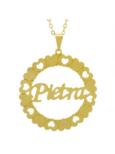Gargantilha Pingente Mandala Manuscrito PIETRA Banho Ouro Amarelo 18 K - 1061390