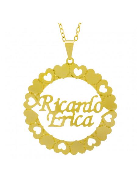 Gargantilha Pingente Mandala Manuscrito RICARDO ERICA Banho Ouro Amarelo 18 K - 1061393