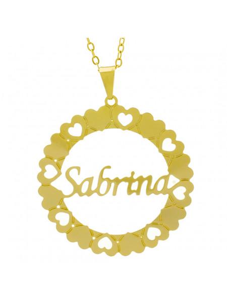 Gargantilha Pingente Mandala Manuscrito SABRINA Banho Ouro Amarelo 18 K - 1061395