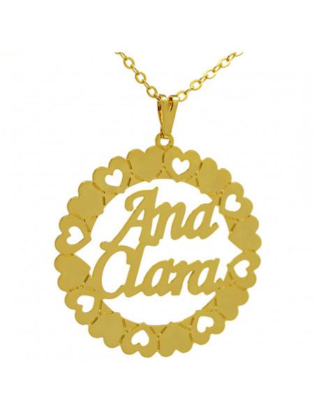 Gargantilha Pingente Mandala Manuscrito ANA CLARA Banho Ouro 18 K - 1060063