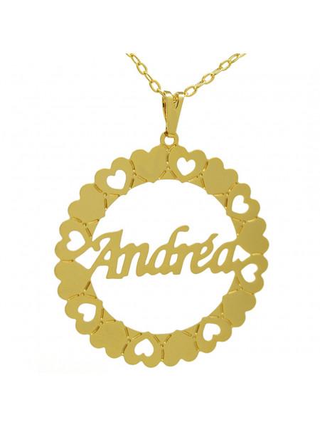 Gargantilha Pingente Mandala Manuscrito ANDRÉA Banho Ouro 18 K 1060065