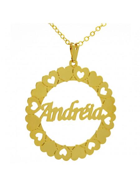 Gargantilha Pingente Mandala Manuscrito ANDRÉIA Banho Ouro 18 K - 1060066