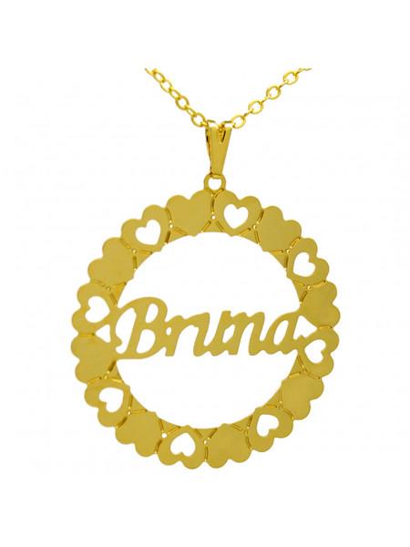 Gargantilha Pingente Mandala Manuscrito BRUNA Banho Ouro 18 K - 1060070